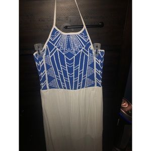 Dresses & Skirts - Blue and White Halter Top Maxi Dress